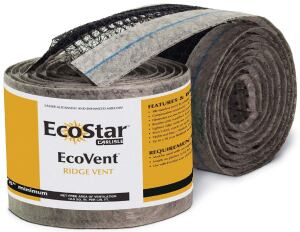 EcoVent ridge ventEcoStarecostar.carlisle.com  Continuous tile-over ridge vent - Removes hot, moist air from the attic space of a building - Helps reduce cooling costs of a building while preventing moisture buildup - Offered in 20-foot-by-10½-inch rolls
