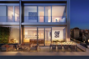 A mockup of the penthouse terrace at Billy Macklowe's 21 East 12th project, which is expected to finish construction in 2018. Both penthouses in the complex sold in two months.