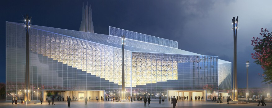Rendering of the cathedral at night