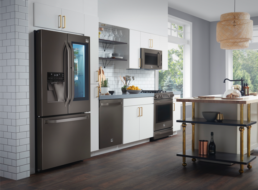 The Premium Lg Studio Suite Of Kitchen Liances Is Offered In A Black Stainless Steel Finish