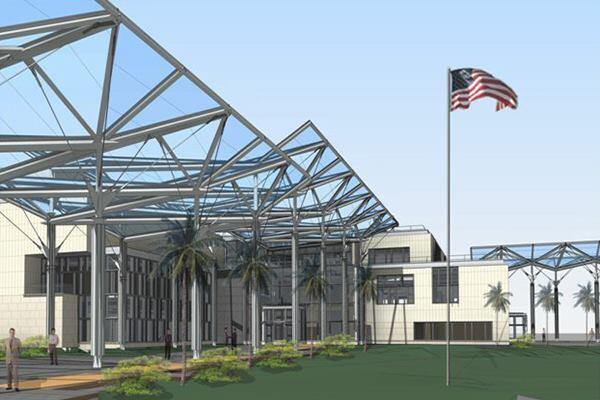 A rendering of the new U.S. Embassy in Vientiane, Laos, which will be the first compound built entirely under the Excellence in Diplomatic Facilities program.