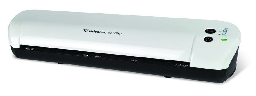 The Visioneer Mobility Color Simplex Cordless Scanner features a 3-cycle button for selection of color JPG, black and white PDF, or color PDF