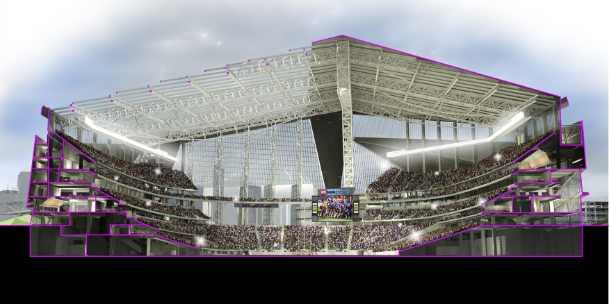 Stadium rendered section viewed from the southeast