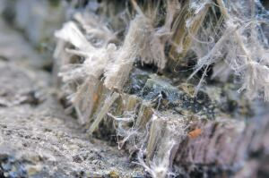 Asbestos was used as fiber reinforcement in concrete.