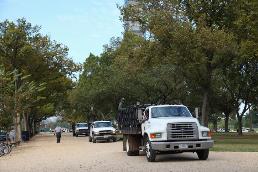 Barricades arrived in trucks this morning to close off the monuments on the mall.