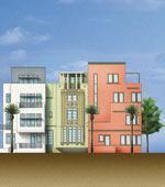 Bold colors and blocky shapes of Miami's Art Deco district are echoed in the new townhouse designs of Aqua's single-family component.