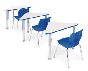 A new addition to an existing line of education furniture, the Interchange Wing Desk by Smith System features a triangular high-pressure laminate desktop. Designed to move from individual to collaborative work environments in the classroom, the desks can be used singly or arranged into square tables, clusters, or long tables. The desktop is available in 10 quick-ship colors, with bumper edges in 18 colors, and the legs are available in a scuff-resistant combination of powdercoat and chrome plate. An option for a built-in book box is also available. ¢ smithsystem.com
