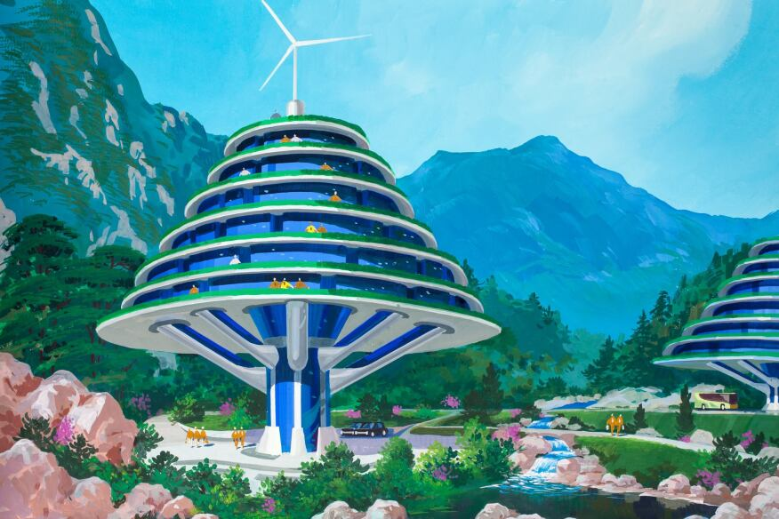 One of the several paintings imagined to be the future of ecotourism for North Korea.