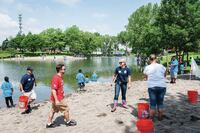 Public Works constructs fishing pond for Cops-n-Kids event