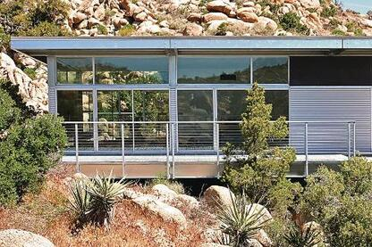A completed home in Yucca Valley, Calif., built using the Blue Sky Frame, a light-gauge, pregalvanized steel moment-frame system.