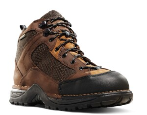 A scuff proof material prevents the upper from wearing away from the steel toe cap.