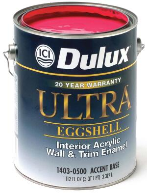 Ultra acrylic eggshell interior paintDulux  www.duluxpaints.com  For use in moderate- and heavy-traffic commercial applications    Product line features flat latex, acrylic eggshell, and acrylic semigloss finishes    Low odor and low VOC (eggshell has 112 grams of VOCs per liter)    Quick dry and recoat    Spatter-free application with brush, roller, or spray
