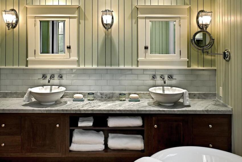In Maine, the master bath of this separate suite is usable year-round