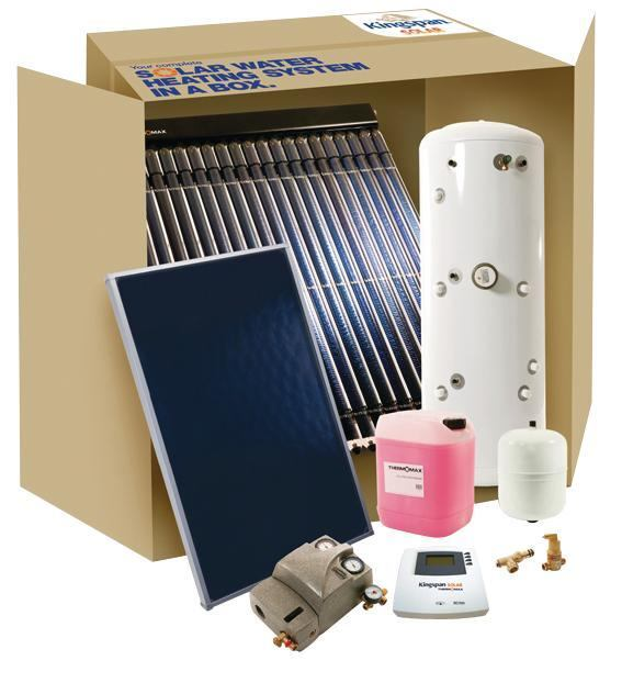 "Kingspan. SRCC-certified ""Solar in a Box"" packages of Thermomax solar thermal systems are available direct to contractors or through area distributors. Each package is designed for a typical household size and contains all parts, materials, and equipment needed for installation and operation in all U.S. geographical locations. The kits offer a choice of high-performance vacuum-tube or flat-panel solar collectors. 410.799.6600.  http://www.kingspansolar.com/."