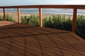 Cali Bamboo. BamDeck Fossilized Strand bamboo deck boards offer density, strength, and durability comparable to Brazilian ipe, the firm says, but with the rapid renewability of bamboo. The decking is made with no-urea-formaldehyde glues, tests below E1 emissions standards, and has passed California Class A fire tests. It features a hidden fastening system. 888.788.2254.  www.calibamboo.com.
