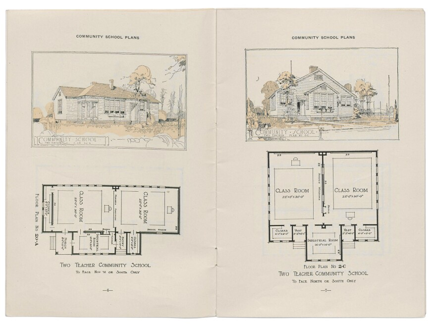 Community school plan from a 1924 Rosenwald Fund bulletin