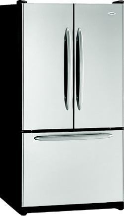 COLD STORAGE: This three-door, bottom-mount, 24.8-cubic-foot refrigerator features moisture control that keeps the cabinet exterior free of condensation. It also has a retractable water/ice filter and an electronic dual cooling system with touch-pad control sensors. Twin fresh-food doors make the unit ideal for small kitchens, says the maker. It is available in white, bisque, black, and stainless steel. Maytag. 800-688-9900. www.maytag.com.