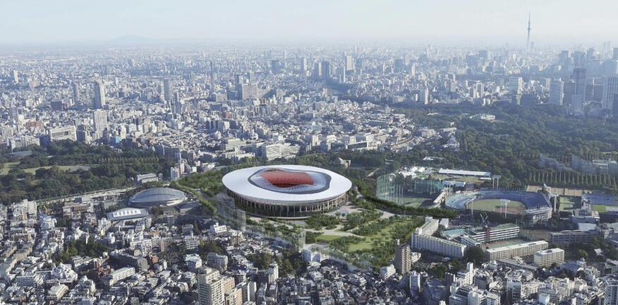"""This rendering provided by the Japan Sports Council shows the Design """"B"""" proposal."""