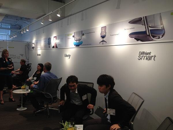 Various designs by Diffrient along the walls of the Humanscale booth at NeoCon 2013.
