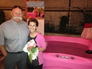 Traci Andrews (pictured with her husband) won a pink hot tub at the Spas for a Cause Pink Party in Vista, Calif.