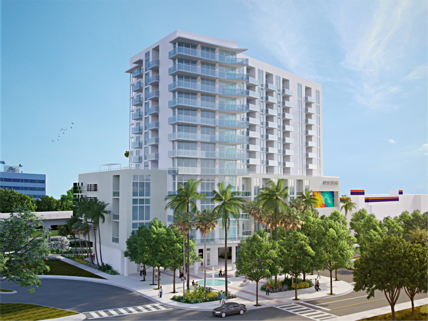 An exterior rendering of the front of Cassa Grove, with the Metrorail visible to the left.