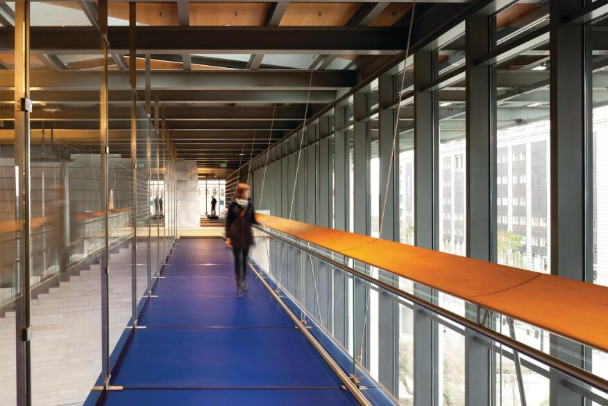 A walkway in City Hall, designed by the architect James Carpenter, connects council offices and chambers.