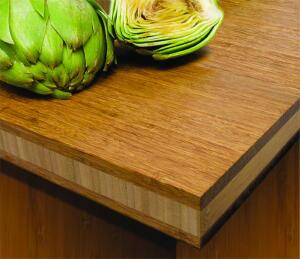 Available in three styles, the new bamboo tabletops and countertops from Teragren provide a sustainable surface for retail and hospitality applications. Strand countertops feature a chestnut face with a vertical-grain core (above), while the End-Grain Strand variety is available in wheat or chestnut with a burl-like pattern. Both Strand options are engineered using Xcora technology, making them 154 percent harder than red oak. The Traditional countertop features a vertical-grain face with a bacteria-resistant, formaldehyde-free surface.  teragren.com