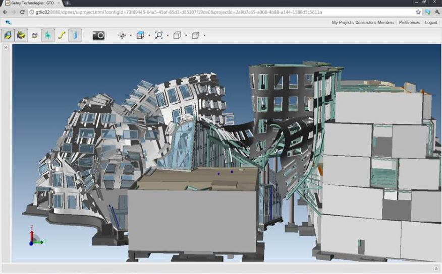 A building model as viewed in Gehry Technologies' GTeam software, which is now part of Trimble Navigation's product portfolio.