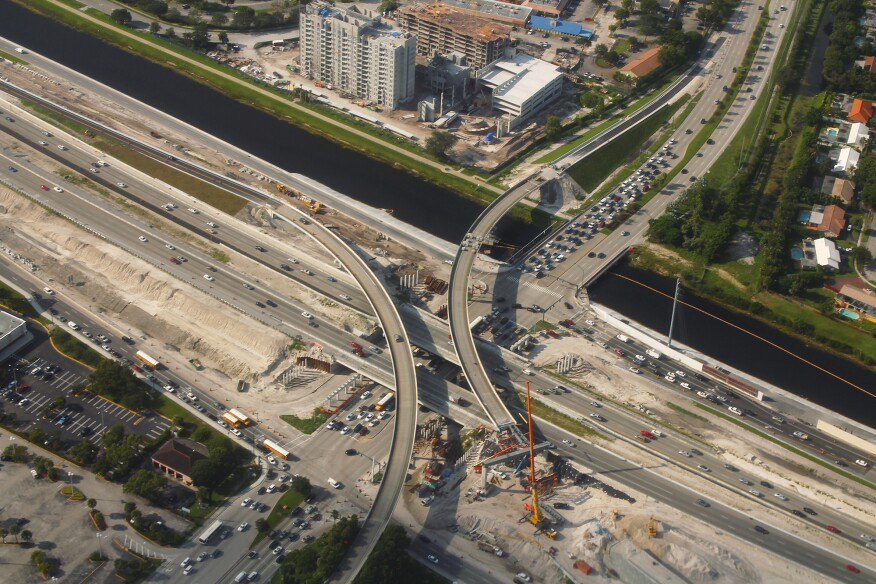 An overpass project on Interstate 595 in Florida