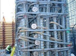 In seismic areas, rebar congestion, such as this found on a Southern California jobsite, are driving interest in 100 ksi reinforcing steel.