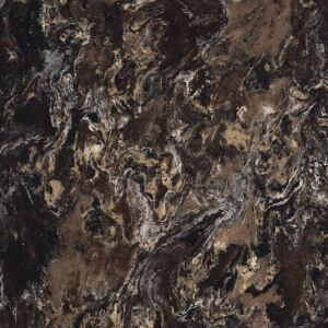 CAMBRIA. Two new designs in this line of Greenguard-certified surfacing capture the natural veining and beauty of marble and granite while offering the superior strength of quartz. Laneshaw (shown) embraces brown, tan, and black tones with hints of white and gold, while Armitage appears dark and deep with blends of black and gray and random flecks of copper and orange. The product is nonporous and comes with a limited lifetime warranty. 866.226.2742. www.cambriausa.com.