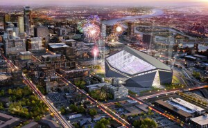 A rendering of the new Minnesota Vikings stadium, to be open July 2016.