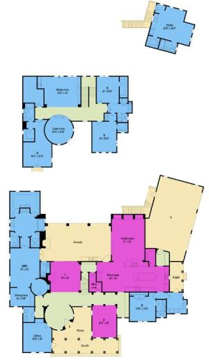 "GROUP THOUGHT: The organization of spaces in the floor plan is anything but accidental. Utility  zones such as the kitchen, laundry room, mudroom, and garage are grouped  together at the south end of the house, where spaces skew more casual. Formal  entertainment areas fall in the center of the plan, and ""quiet  zones"" (including the master retreat and library) lie to the north."