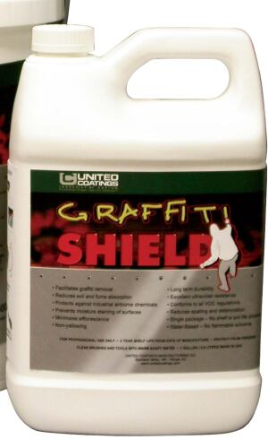 Graffti Shield  United Coatings  unitedcoatings.com  Water-based coating protects walls from graffti, dirt, soot, and pollution    Clear, satin finish    The Graffti Shield Cleaner dissolves graffti or dirt quickly from treated surfaces    Can be applied to paint, concrete, brick, stucco, and most other hard, vertical surfaces    Applies with brush, roller, or airless spray methods