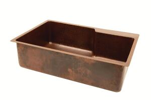 PREMIER COPPER PRODUCTS. The company's new 99% recycled copper replacement sink is a stylish and durable alternative to a standard stainless steel model. The surface-mount unit measures 33 inches by 22 inches by 9 inches with a 4-inch faucet deck. Installation is quick and easy, the firm says, because the countertop does not need to be removed. 602.476.7332. www.premiercopperproducts.com.