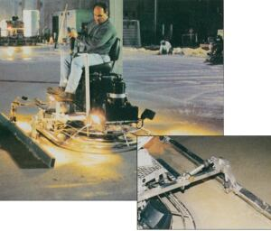 Ride-on trowels are essential for finishing massive slab placements. A January 1999 photo shows attachment of a straight-edge to produce a flatter floor.