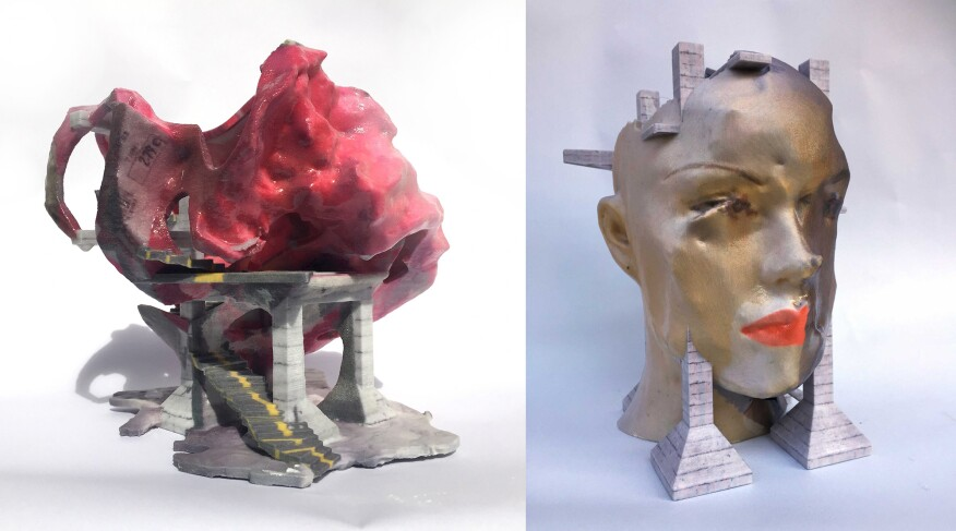 Works from Andreas Angelidakis's Fantasy Ruins: Bags, Body Parts and Bibelot, which were exhibited at the Chicago Architecture Biennial