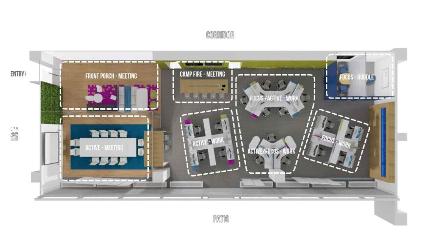 The layout of the proposed pop-up lab for the FBI's current headquarters at the J. Edgar Hoover Building in Washington, D.C.