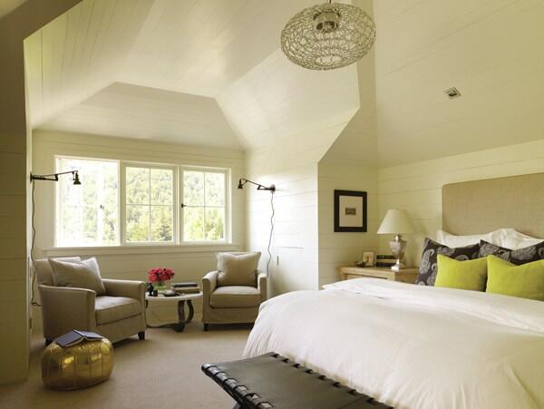 Original Value: For the master bedroom, Floyd laid out horizontal paneling over roof framing. While strapping and gypsum board would have been easier, respect for the home's age prevailed over convenience