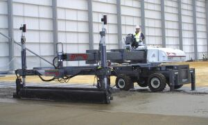The SXP Laser Screed by Somero Enterprises, features a 121 /2-foot screed width and an arm with a 20-foot reach.