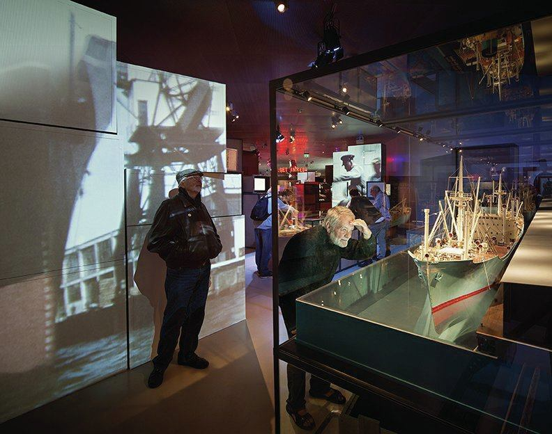 The exhibits are designed to engage visitors with dynamic displays of images and objects.