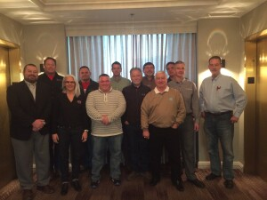 Meet the Concrete Polishing Association of America's 2016 Board of Directors: Back row (from L): Shawn Halverson (VP), Ryan Lakebrink, Chad Gill (President), Bruce Ferrell, Zachary Matson. Front row (from L): Nate Mohler (Executive Director), Jennifer Faller, Mike Trotta (Secretary), Mike Payne (Treasurer), Deke Rife, Scott Metzger, Roy Harvey. Not shown: Jonathan Jones Jr. Photo: CPAA