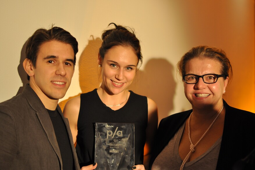 Adam and Elina Chizmar with Isabelle Moutaud of REX
