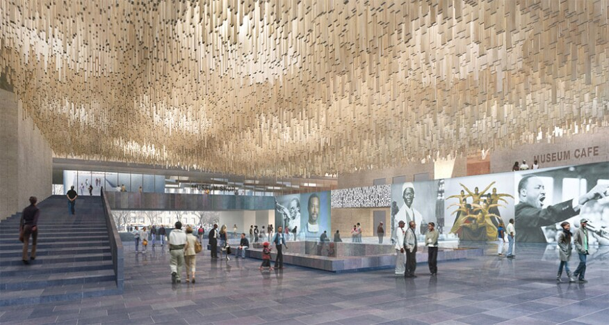 """A """"shower of timber"""" that Adjaye designed for the atrium but that was value-engineered"""