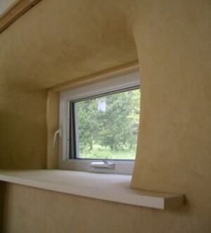 American Clay natural earth plaster finish was used on the interior of this Lopez Island unit.
