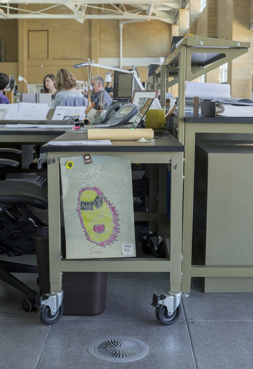 Work desks, drawer cabinets, chairs, and conference tables are all on wheels, enabling employees to move their furniture when they join new project teams.