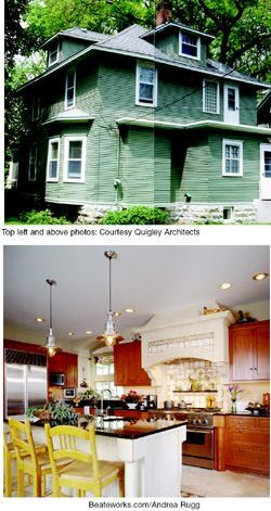 The existing rear elevation of this 1907 foursquare in Minneapolis (top) proved a perfect spot for an addition that included an expanded kitchen (above) as well as a sunroom and a master suite.