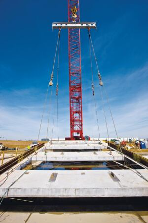 Panels with large openings require complex rigging during lifting.