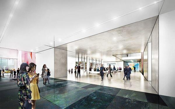 Concept sketch for The Museum of Modern Art. View of the lobby, looking west.