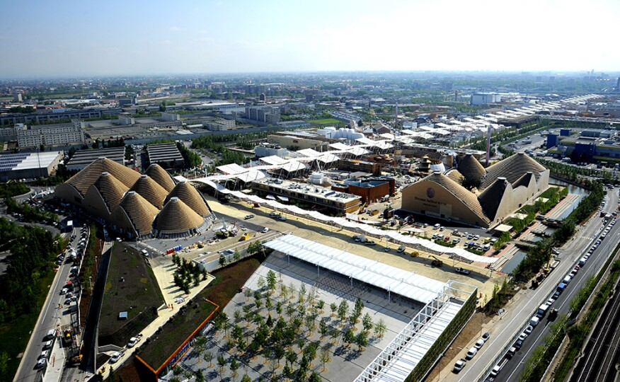 Aerial views of the 2015 Milan Expo grounds.